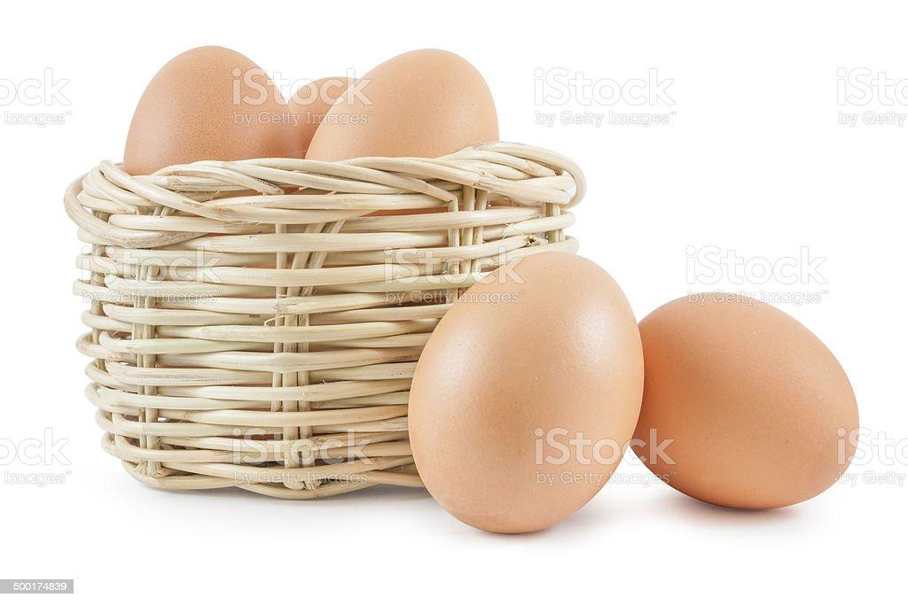 Eggs in basket stock photo