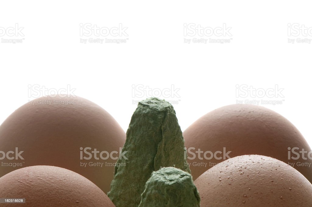 Eggs in paper packaging, organic food, isolated on white background stock photo