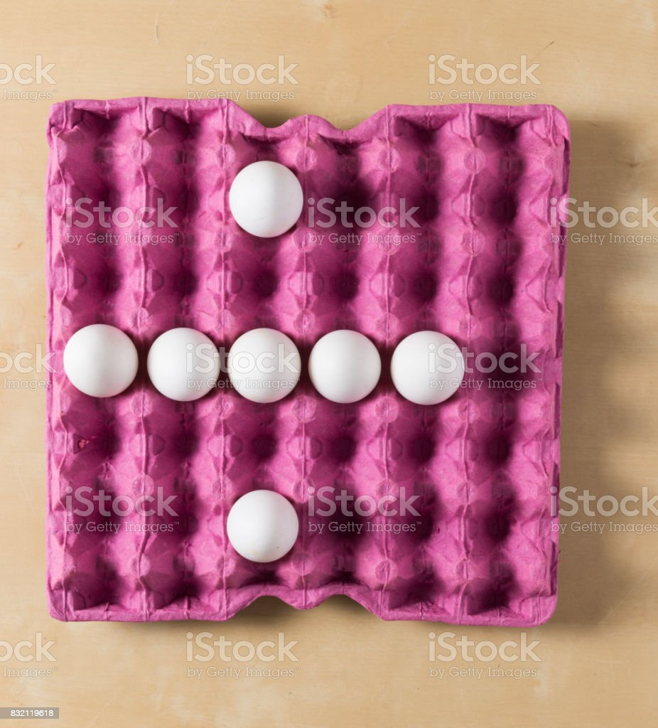 eggs in the paper package tray stock photo
