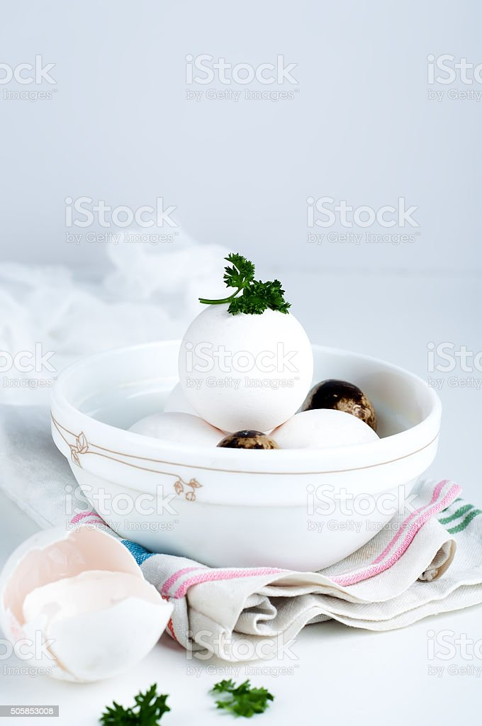 Eggs in white bowl a healthy food for gift stock photo