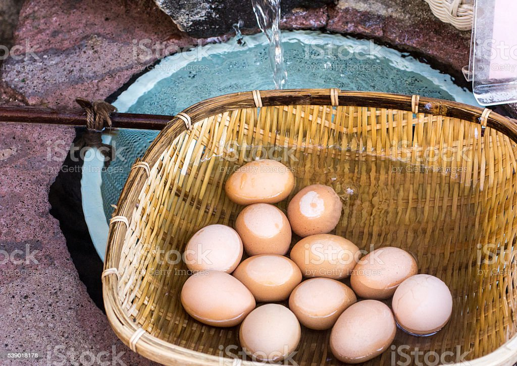 Eggs in Yudanaka, Japan stock photo