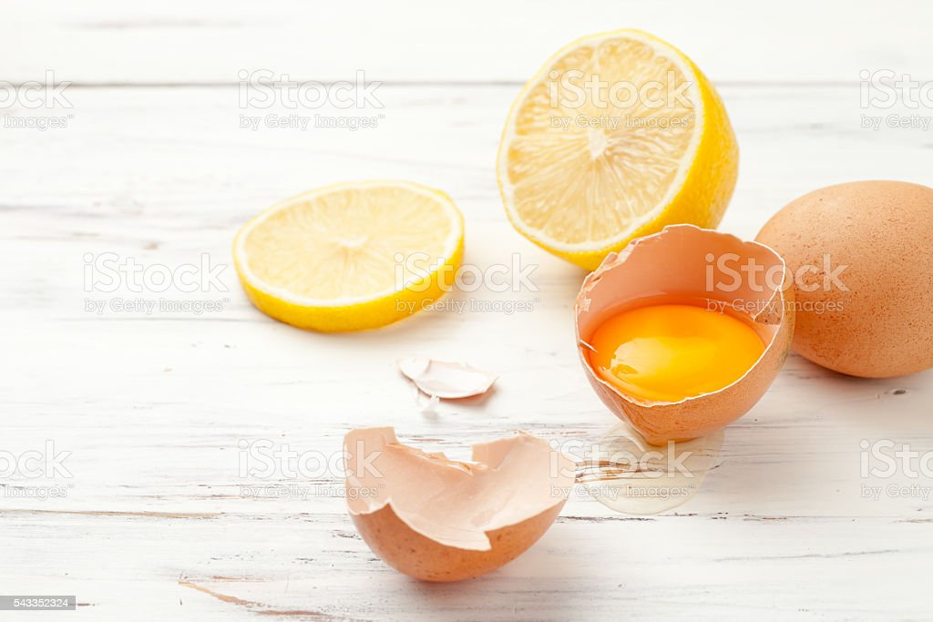 eggs, lemon to prepare homemade food and cosmetics on whitte stock photo