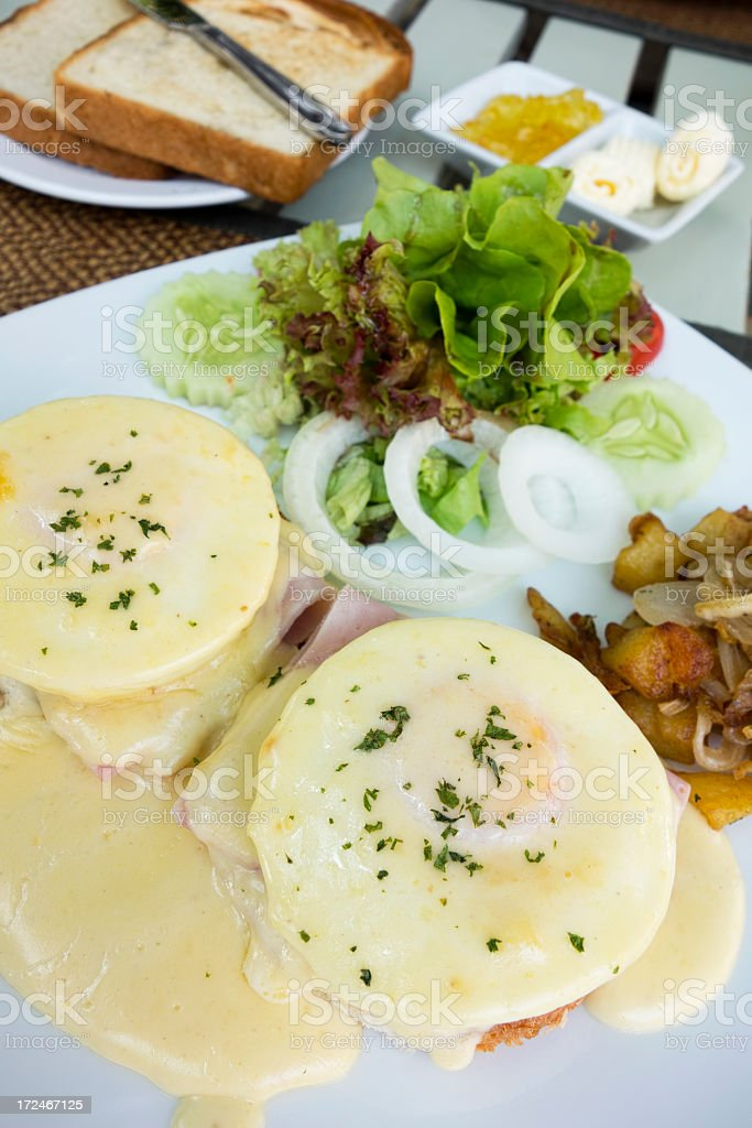 Eggs Mornay stock photo