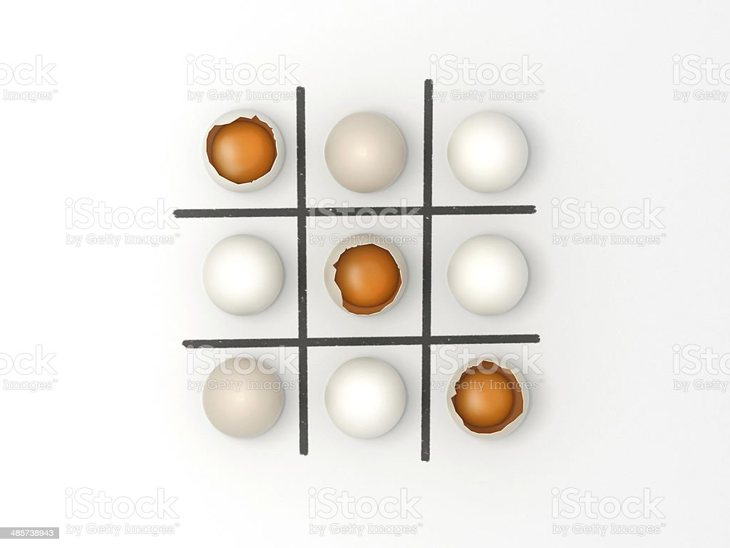 Eggs Noughts and Crosses - Easter game stock photo