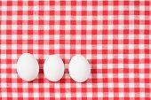 Eggs on a tablecloth