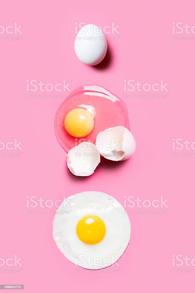 Eggs on Pink Background stock photo