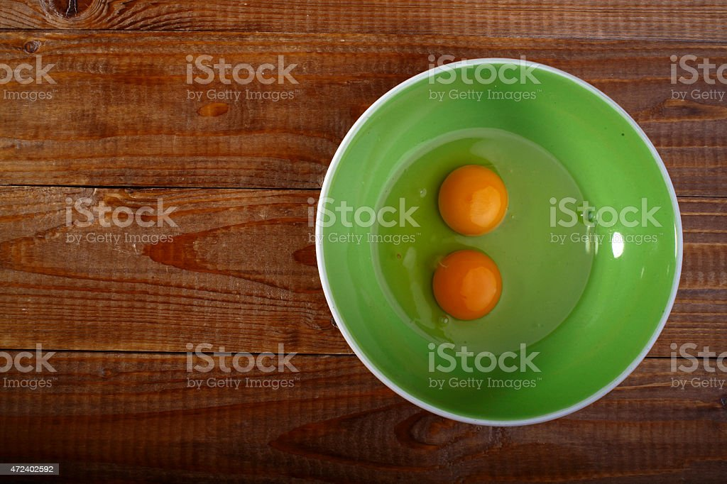 Eggs on plate stock photo