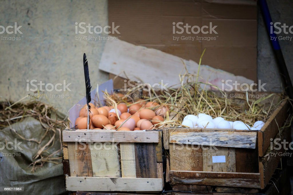 eggs on sale at a street market stock photo