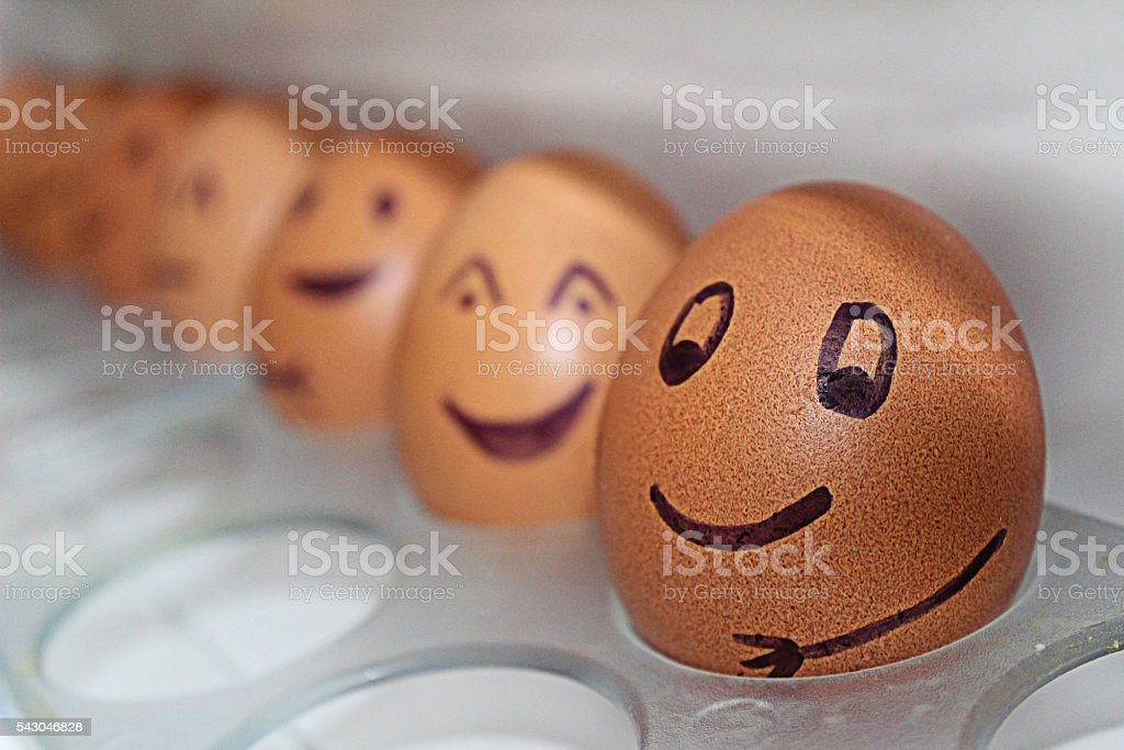 Eggs on the shelf of the refrigerator stock photo