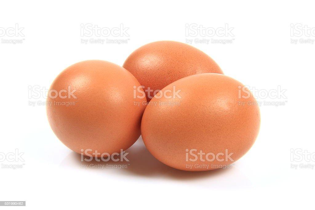 Eggs on white background stock photo