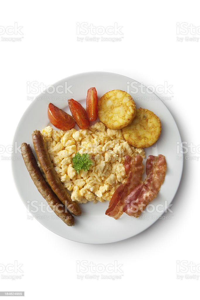 Eggs: Scrambled Egg, Bacon, Sausage, Hash Browns and Tomato royalty-free stock photo