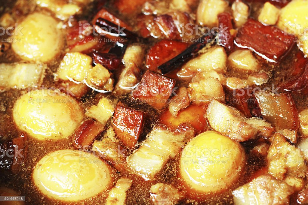 Eggs, stewed pork with tofu royalty-free stock photo