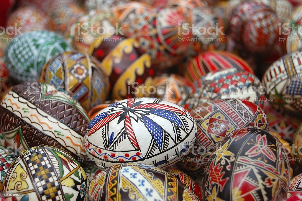 Eggs that are each painted with intricate, complex designs royalty-free stock photo