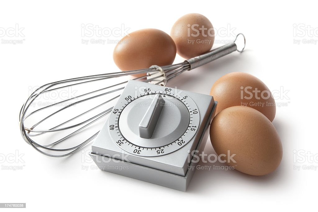 Eggs: Timer, Eggs and Whisk stock photo