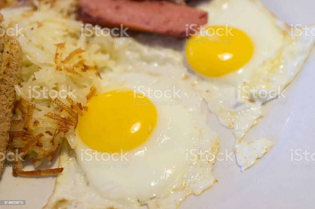 Eggs Toast Sausage stock photo