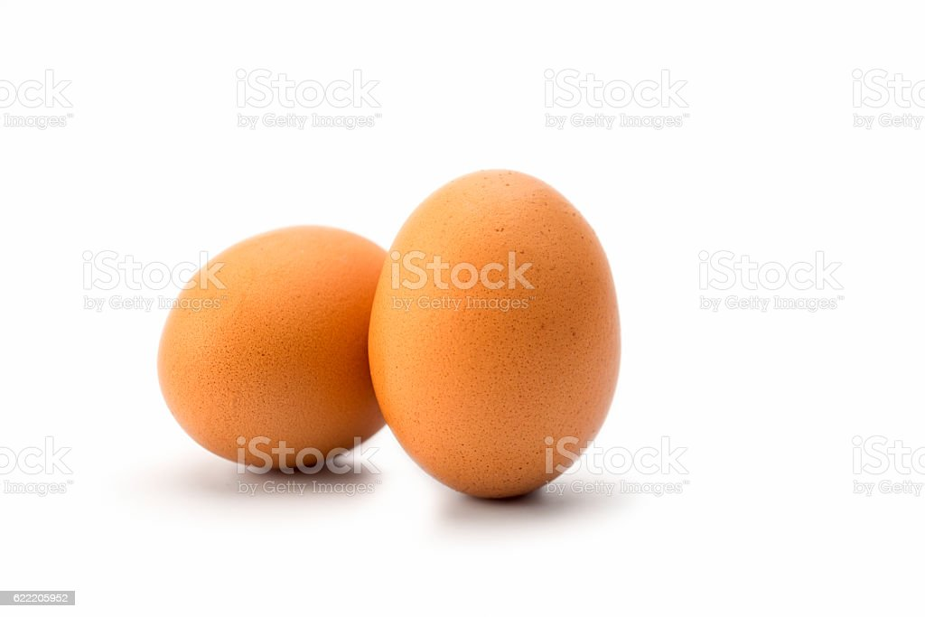 Eggs: two Brown Eggs on white stock photo