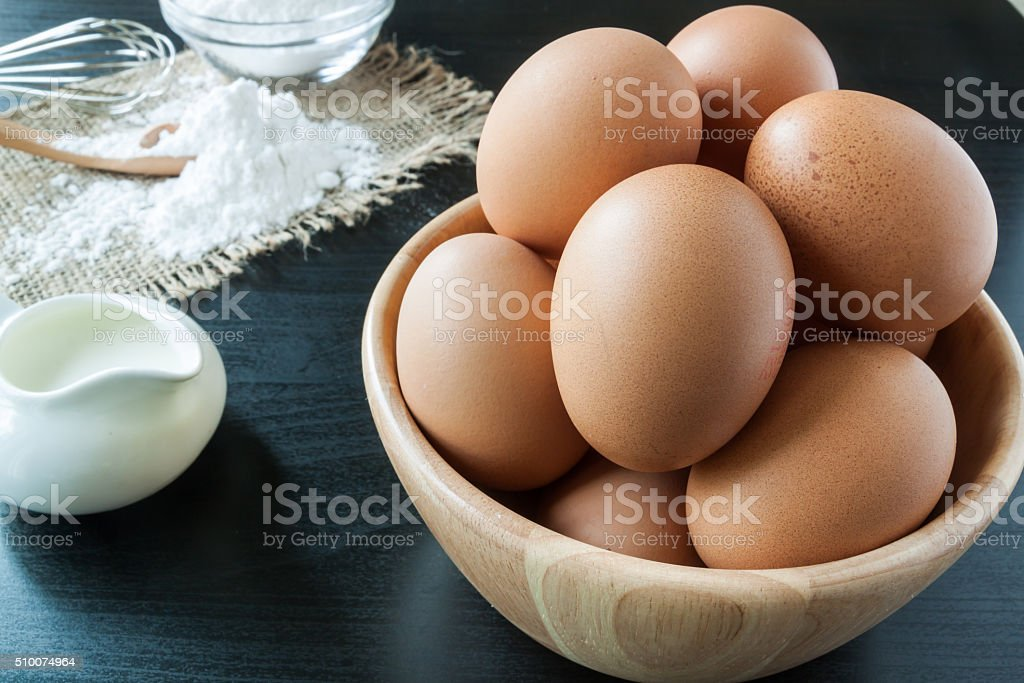 Eggs with Baking powder for dessert stock photo