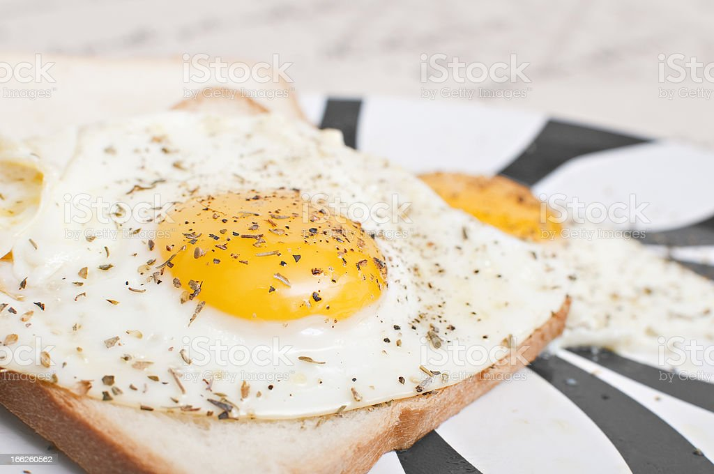 Eggs with bread for breakfast royalty-free stock photo