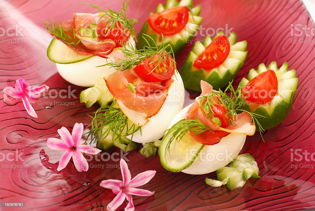 eggs with parma ham for easter royalty-free stock photo