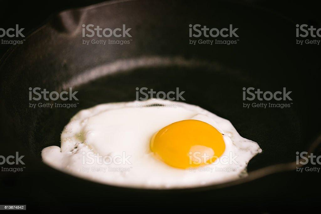 Egg-sunny side up on skillet stock photo