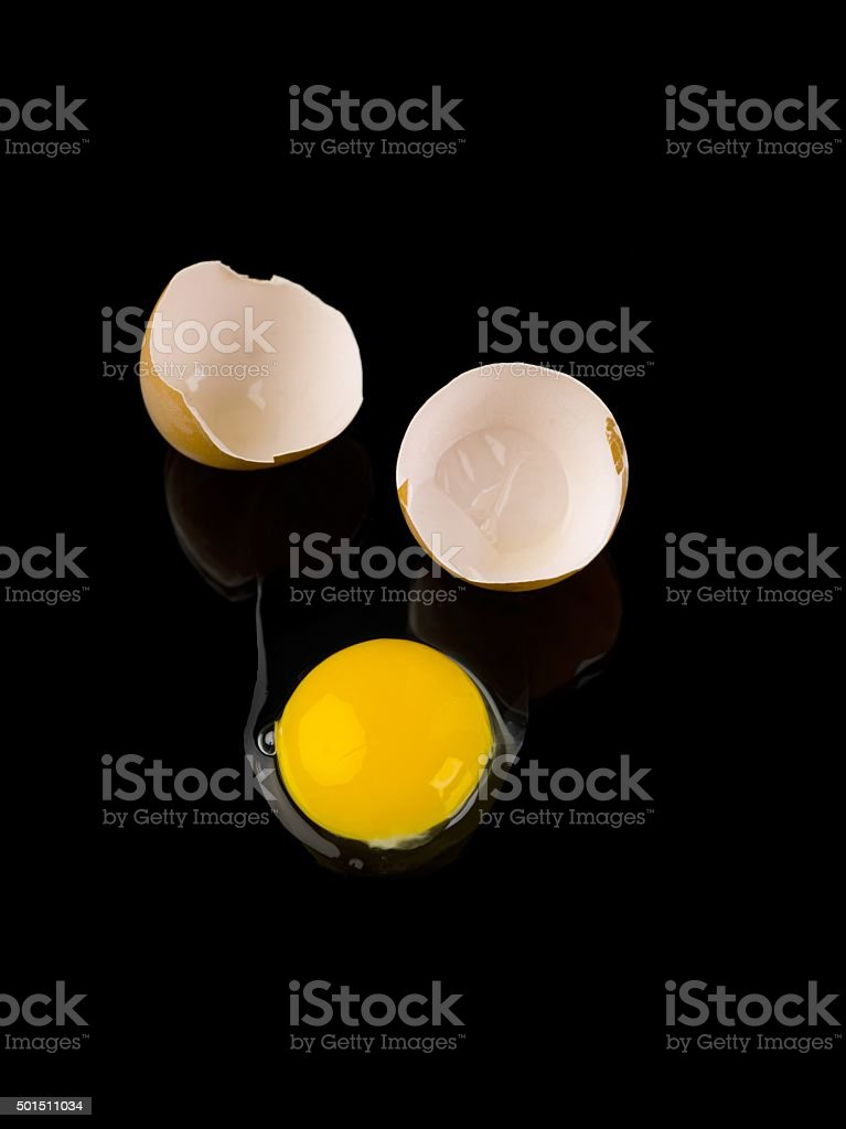 eggyolk separate from the shell stock photo