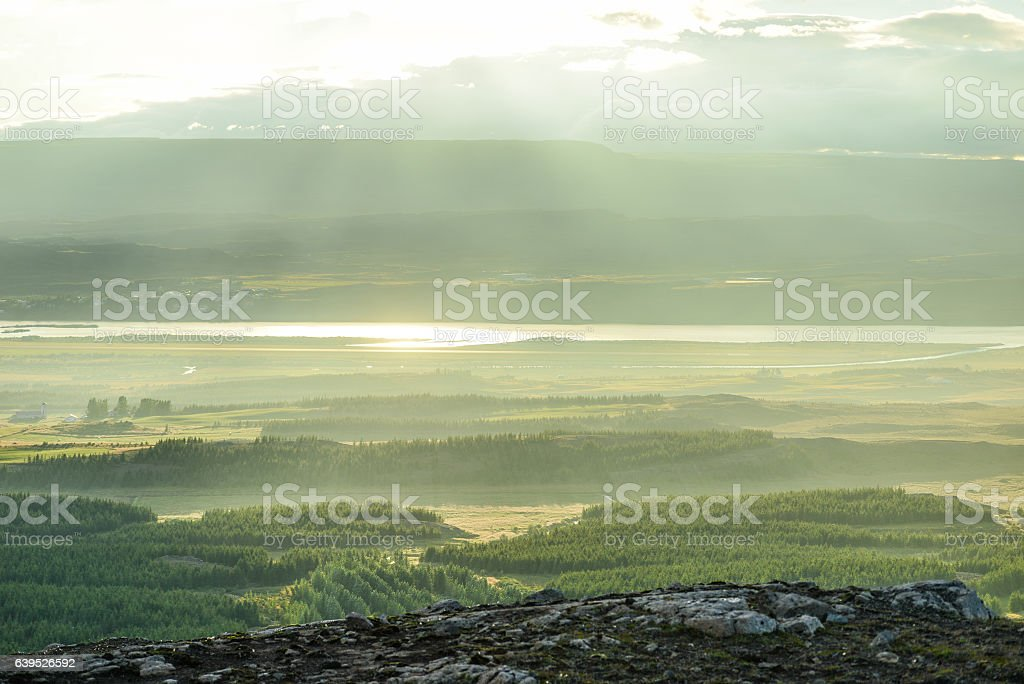 Egilsstaðir panorama in iceland stock photo