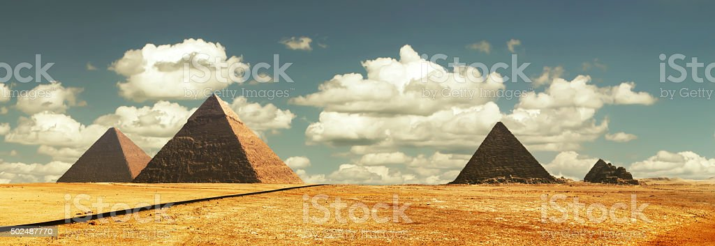 Egipt panorama pyramid with high resolution stock photo
