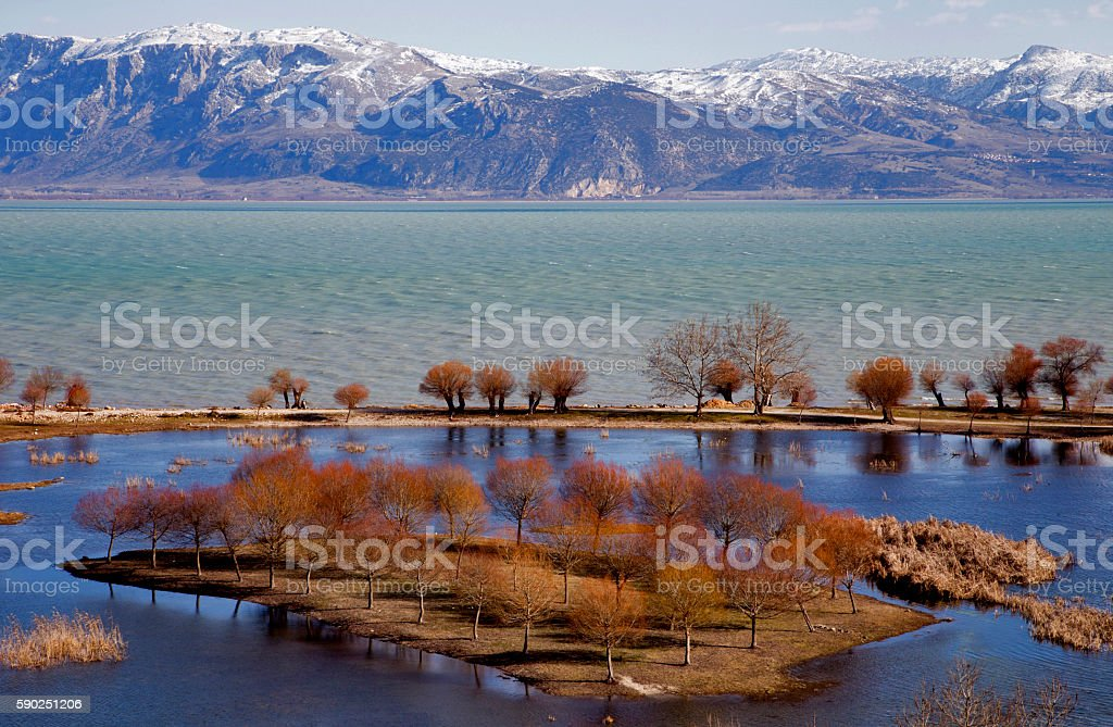 Egirdir Lake and Mountains. stock photo