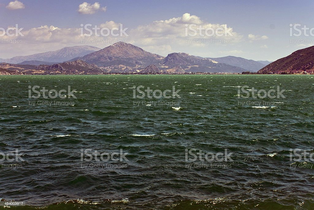 Egirdir lake with mountains stock photo