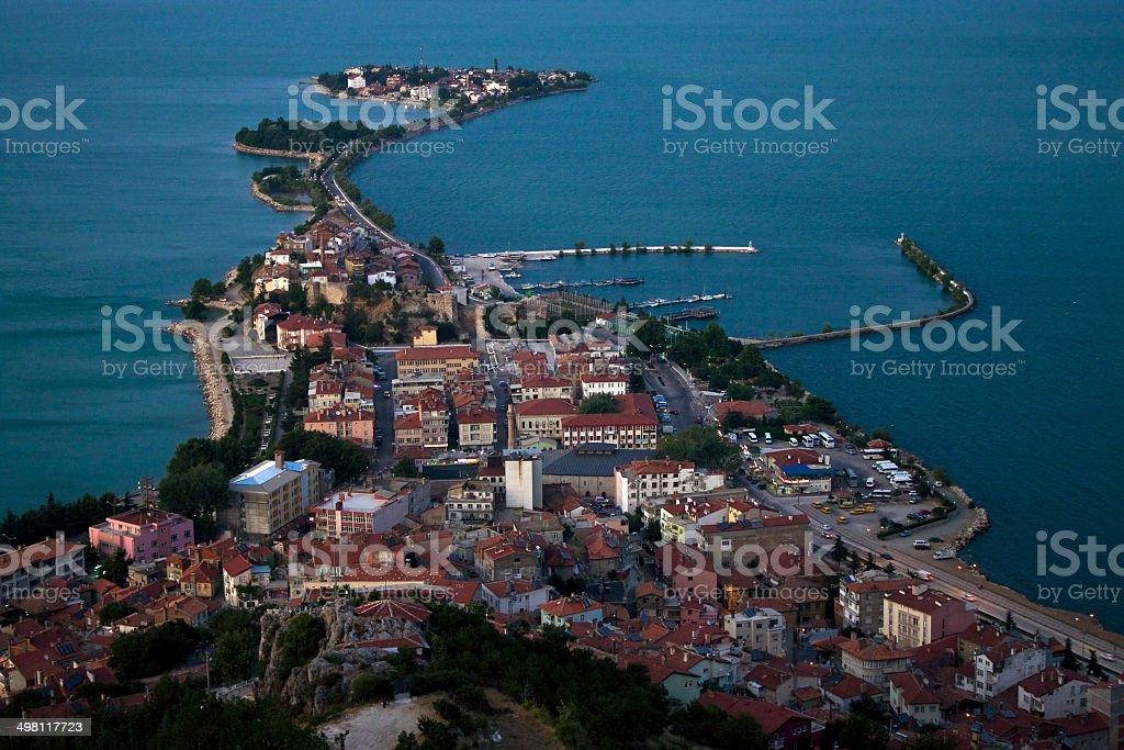 Egirdir, town on peninsula stock photo