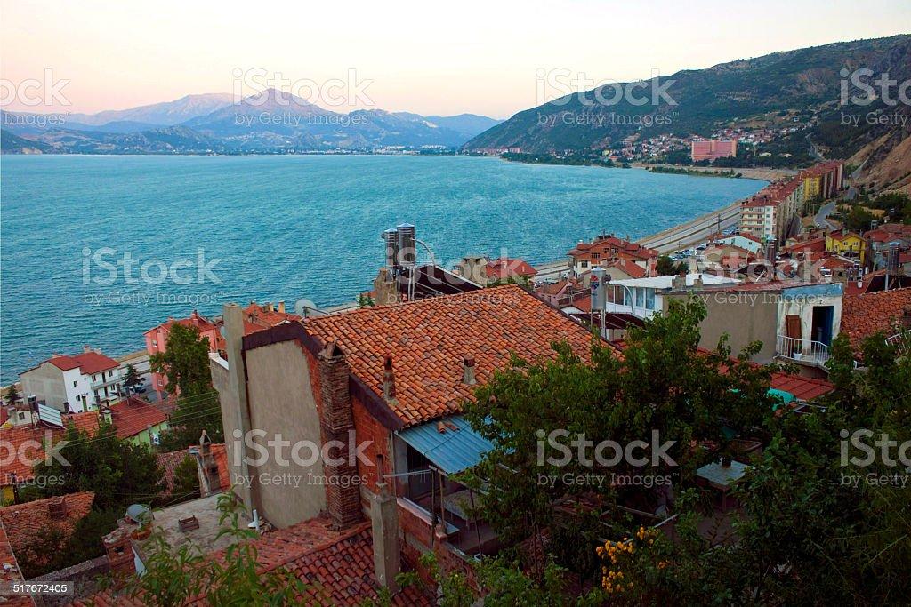 Egirdir town with lake stock photo