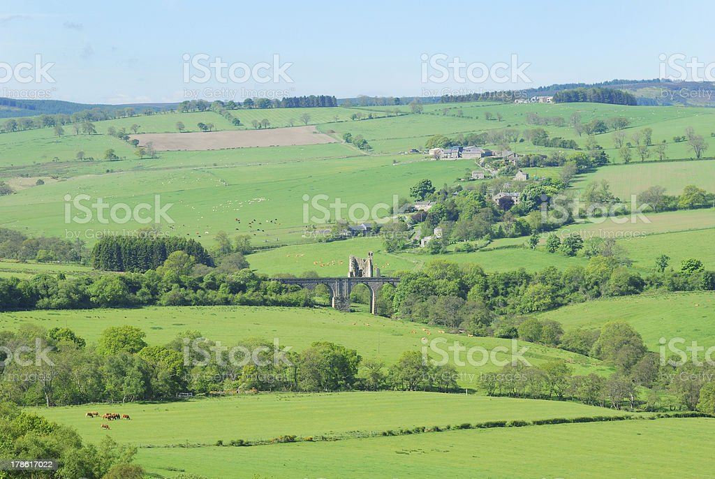 Eglingham village, castle ruins and bridge royalty-free stock photo