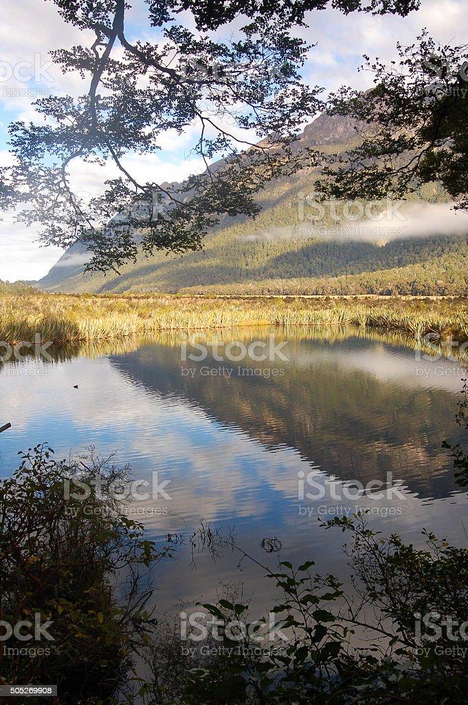 Eglinton Valley and Mirror Lakes stock photo