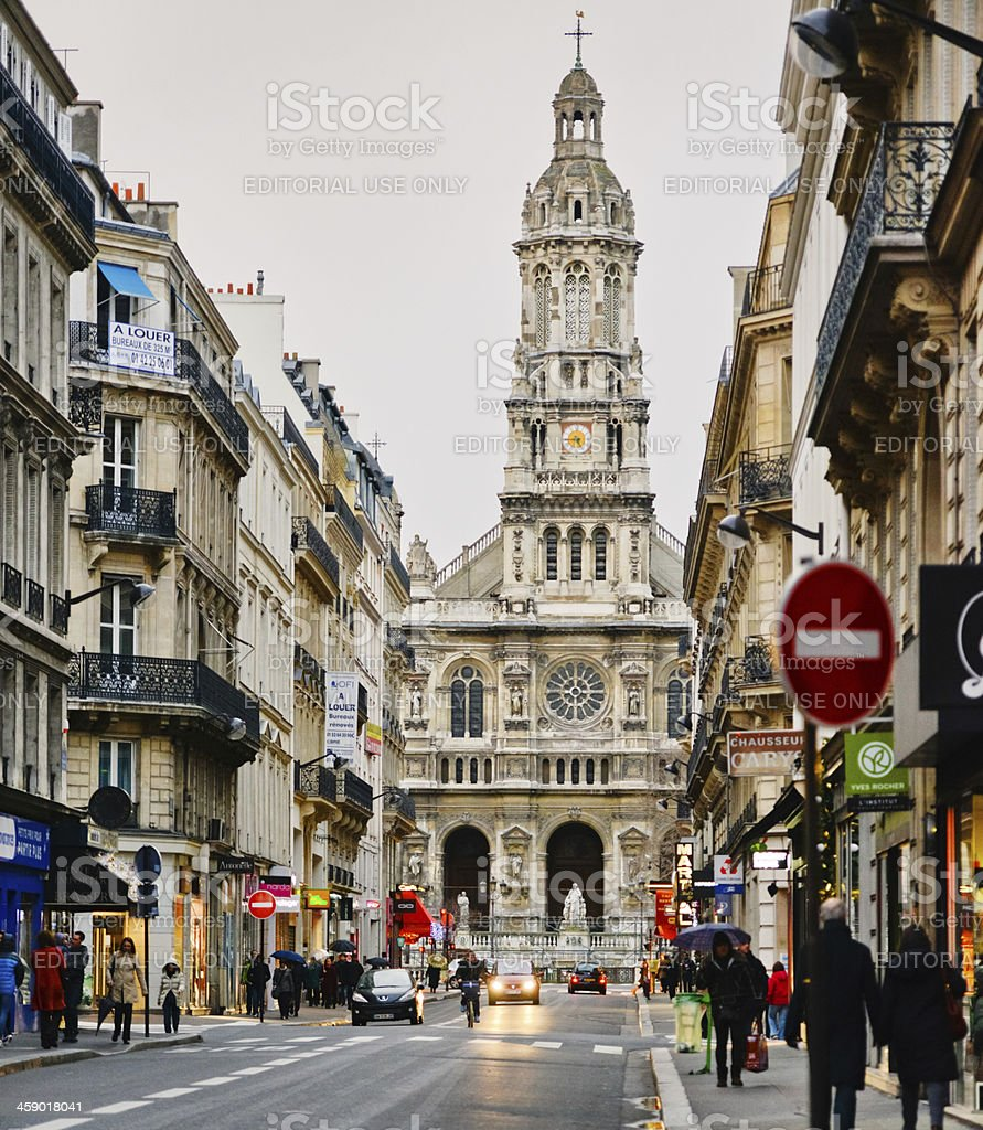 Eglise de Saint Trinite viewed from Paris Street royalty-free stock photo