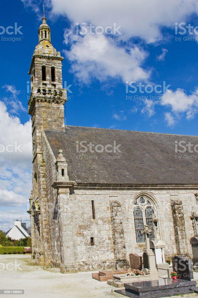 Eglise Notre Dame, Kergoat, Finistère, Bretagne, France stock photo