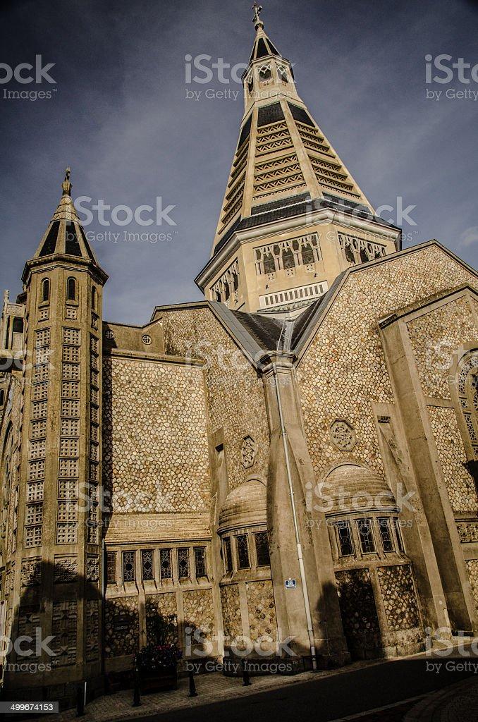 Eglise Saint-Julien de Domfront stock photo
