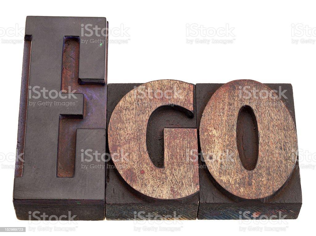 ego - word in letterpress type stock photo