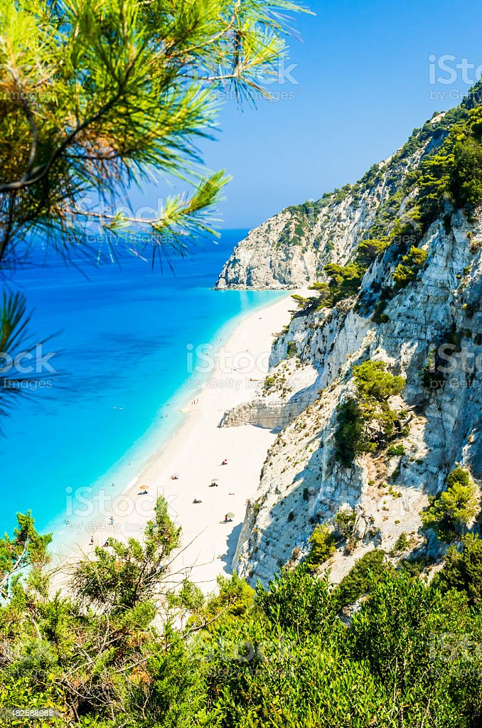 Egremni beach, Lefkada island, Greece stock photo