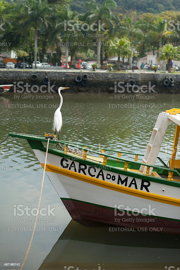 Egret and Boat stock photo