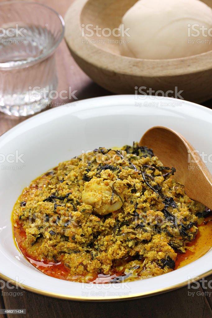 egusi soup and fufu, nigerian cuisine stock photo
