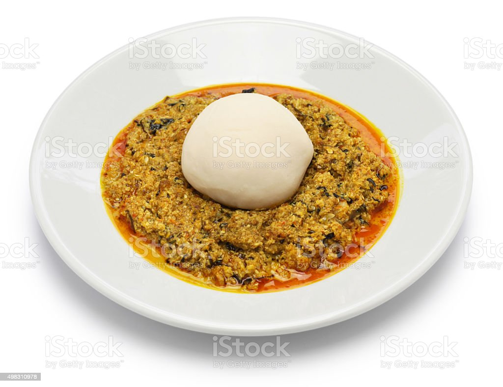 egusi soup and pounded yam, nigerian cuisine stock photo