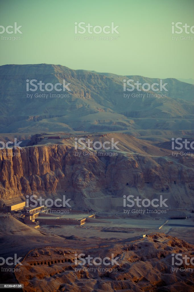 Egypt - Aerial view over Hatshepsut temple stock photo