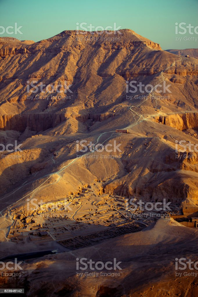 Egypt - Aerial view towards the valley of the Kings stock photo