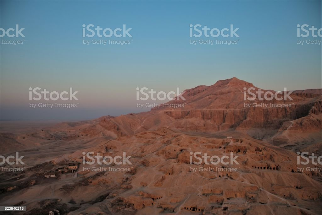 Egypt - Aerial view towards the valley of the kings, with moon stock photo