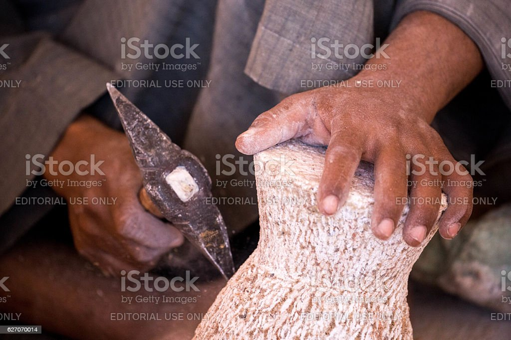 Egypt: Alabaster Carving stock photo