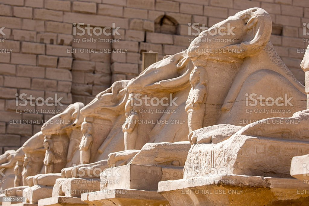 Egypt: Avenue of the Sphinxes at Karnak stock photo
