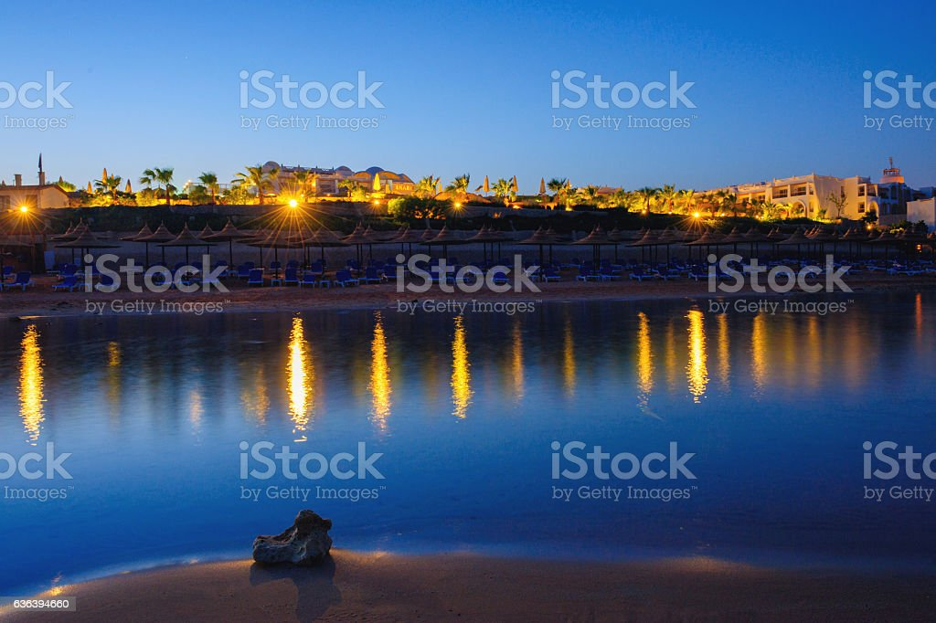 Egypt beach at night stock photo