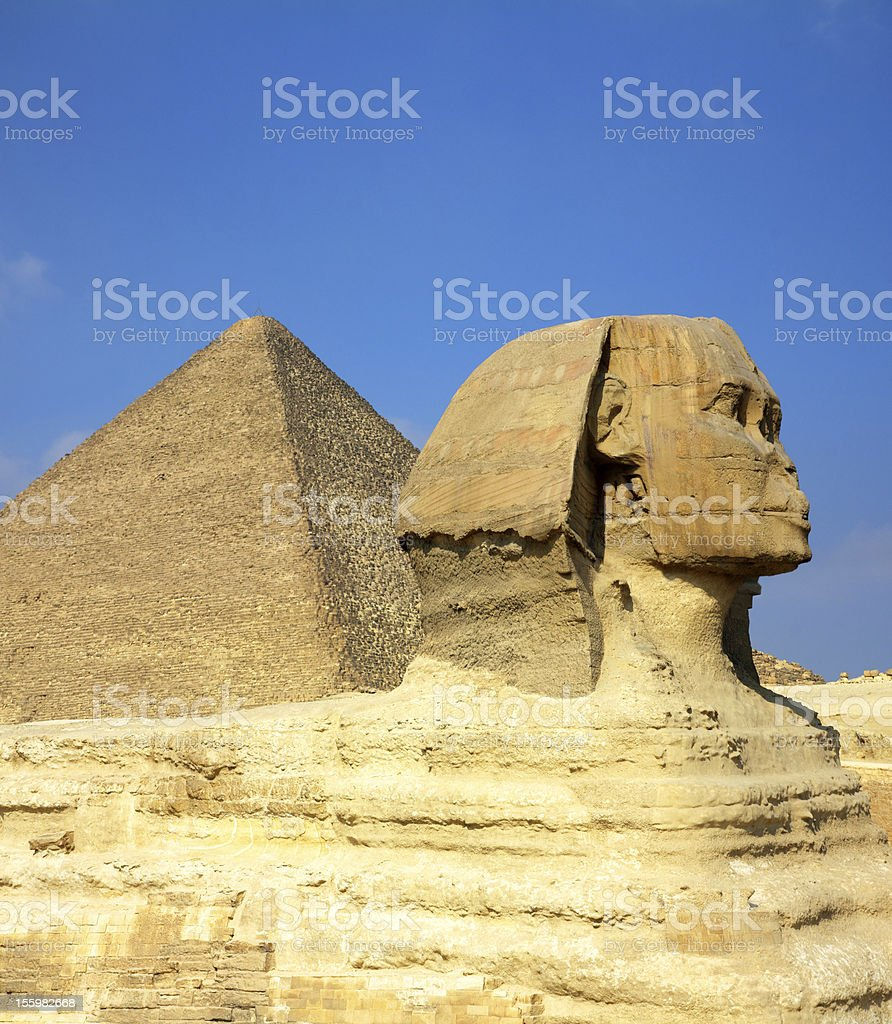 egypt Cheops pyramid and sphinx royalty-free stock photo