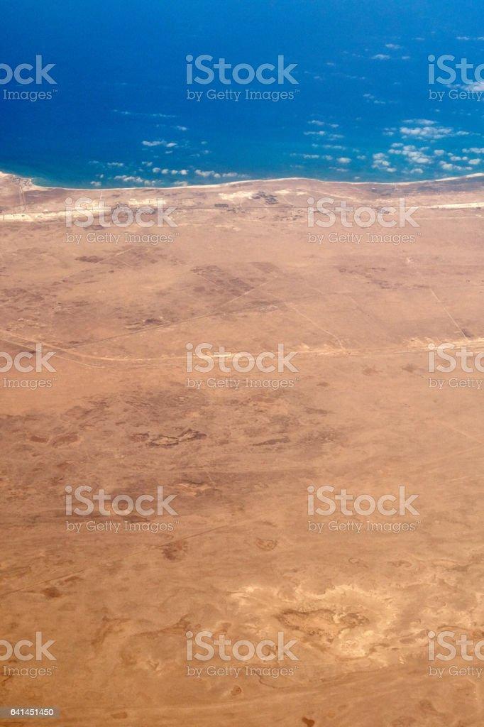 Egypt desert from the sky stock photo