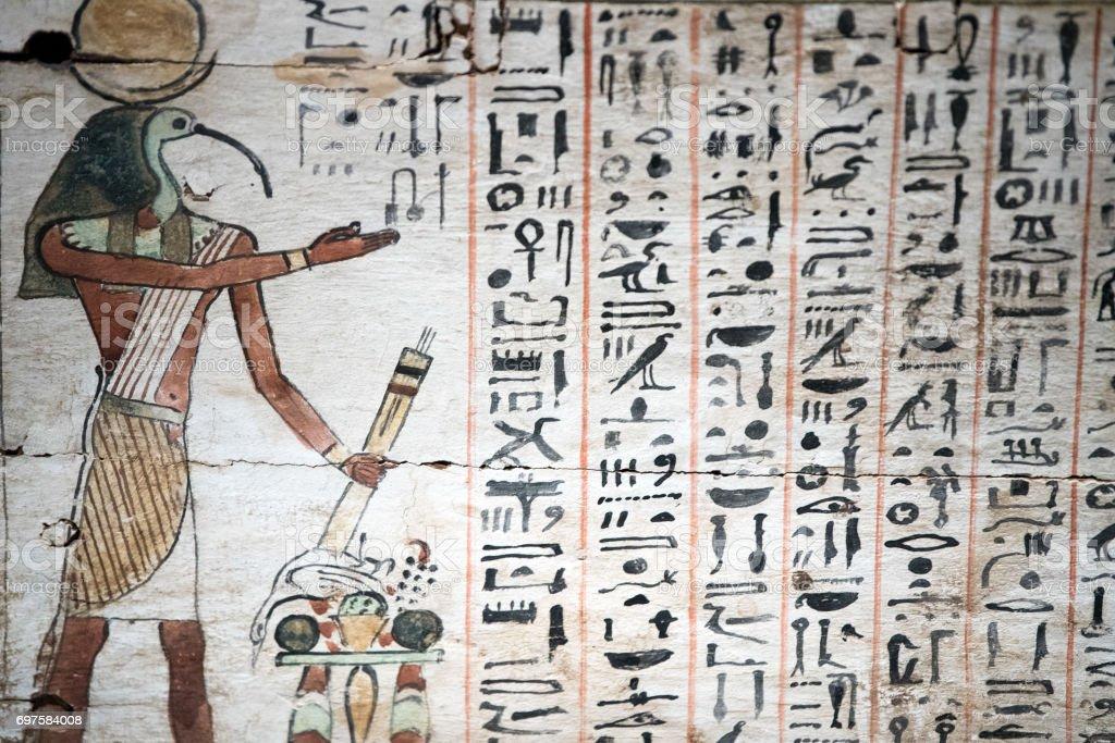 Egypt Hieroglyphics in valley of Kings stock photo